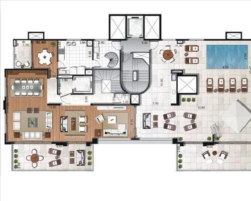 Planta Cobertura Pavimento Superior - 571,46m² MOEMA
