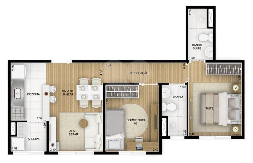 Apartamento de 3 dormitórios em Jardim Novo Taboão, São Paulo - SP