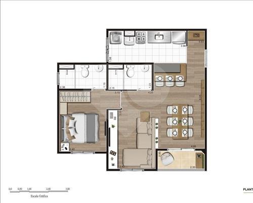 Planta 49m² Ampliado 1 dorm - New City Three PIRITUBA