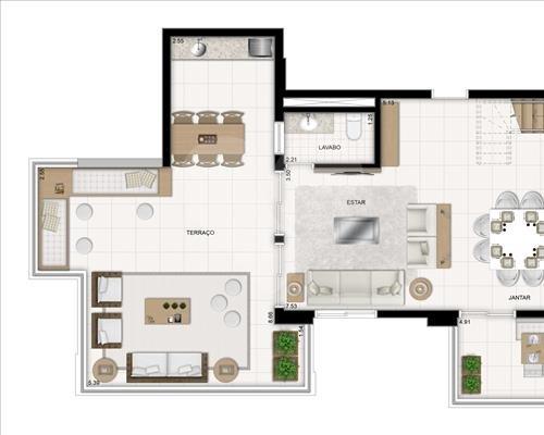 Planta Duplex - Pavimento Inferior - 193 m² Jardim