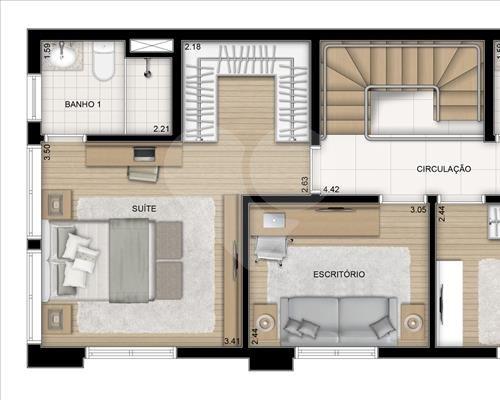 Planta Duplex - Pavimento Superior - 193 m² Jardim