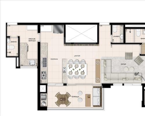 Planta Living Ampliado - 3 Dormitórios - 120,41m² Jardim