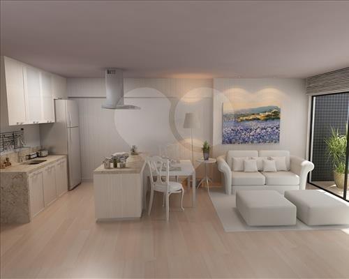 Living do apartamento de 45,38m² Meireles